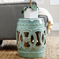ABBYSON LIVING Moroccan Teal Ceramic Garden Stool | Overstock.com Shopping - The Best Deals on Garden Accents