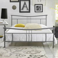 Queen size Contemporary Metal Platform Bed Frame with Headboard & Footboard