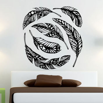 Feathers Wall Decals Vinyl Sticker Dream Catcher Boho Bohemian Home Decor SM146