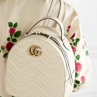 Gucci Fashion Women Pure Color Leather Metal Double G Bookbag Shoulder Bag Handbag Backpack White I