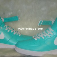 Custom Tiffany Blue and White Mid-Top Nike Air Force Ones