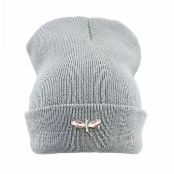 PEAPUNT Dragonfly Crystal Accessory Beanie Hat For Women, Hip Hop Cute Hats Winter Caps Female Beanies bonnet femme gorros Sport gorras