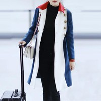 """Gucci"" Women Fashion Multicolor Tiger Head Double Row Buttons Cardigan Long Sleeve Middle Long Section Wool Coat"