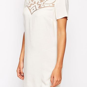 Warehouse Embroidered Lace Shift Dress