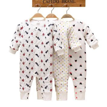 100% Cotton Baby Romper Winter Cartoon Printed Long-Sleeve Baby Pajamas Warm Infant Costume Newborn Baby Clothes