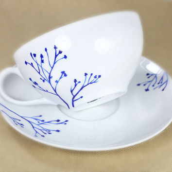 Hand Painted Porcelain Cappuccino Cup and Saucer by SylwiaGlassArt