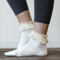 Lace Ankle Socks, Boot Socks, Women's Short Socks, Cute Women's Socks, Stocking Stuffers for Girls (Ivory) (BS-32)