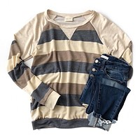 NEW! Blue, Tan and Oatmeal Stripe Top