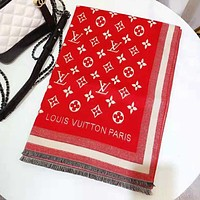 LV Louis Vuitton Autumn Winter Popular Women Men Cashmere Cape Scarf Scarves Shawl Accessories Red