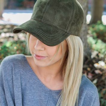 So Sweet Suede Cap - Olive