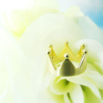 Simple Crown Ring Princess Ring Tiara Womens Jewelry Gold Silver gift idea