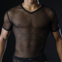 Hot Men T Shirts Transparent Mesh See Through Tops Tees Sexy Man Tshirt V Neck Singlet Gay Male Casual Clothes T-shirt Clothing