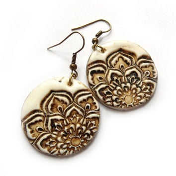 Lotus earrings, faux ivory jewelry, aged bone carving, lotus mandala texture