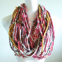 Tribal Rose Smoke Honey Gold Brown Gypsy Infinity Scarf Fall Fashion Upcycled Clothing Knotty Bits Chunky Cowl Scarf Gifts Under 100