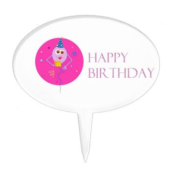 Pink Happy Birthday Balloons Cake Topper