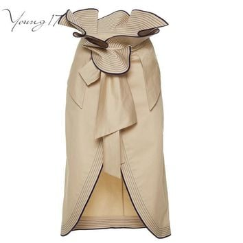Young17 Fashion Stylish Ruffles high waisted Pencil Skirt Split Up Knee Length Ladies Skirts Brown Skirt Summer Women's Skirts