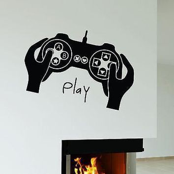 Wall Stickers Joystick Video Game Gamer Play Room Boy Teen Vinyl Decal Unique Gift (ig1963)