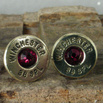 Bullet  Earrings  Ultra Thin  Garnet  January by ShellsNStuff
