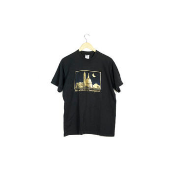 90s FBI gold leaf on black shirt / vintage 1990s tee / fed / x-files / vaporwave / illuminati / crescent moon / NSA / medium - large