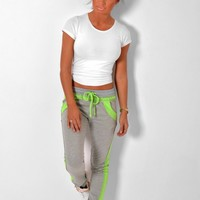 Sprightly Grey & Green Trim Elasticated Sweat Pants | Pink Boutique