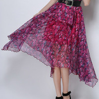 Rose Red Floral High Waisted Asymmetric Hem Midi Skirt