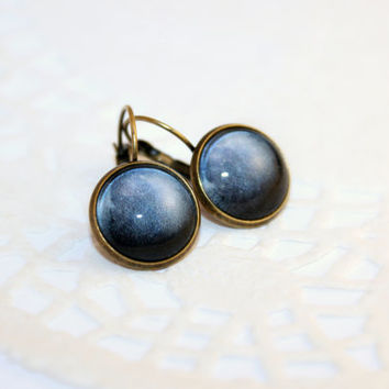Pluto, Navy Blue Earrings, Galaxy Jewelry, Antique Bronze, Glass Cabochon