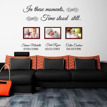 In these moments time stood still custom name lettering wall decals vinyl quotes wall stickers  wall art  living room 603C