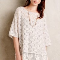 Knitted & Knotted Lace-Trimmed Poncho in Nude Size: