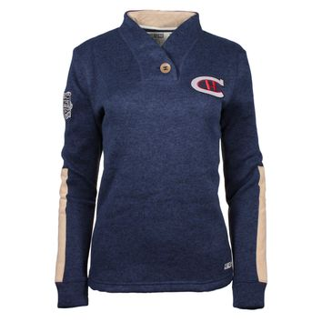 Montreal Canadiens 2016 NHL Winter Classic Women's CCM Shawl Popover Knit Sweater (Navy)