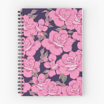 'Pink Roses' Spiral Notebook by HollyAstral