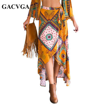 GACVGA New Bohemian print bow asymmetrical women skirt Long Summer style Beach maxi skirt Vintage cotton loose flare skirts