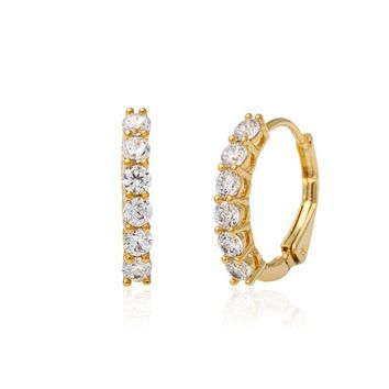 Skyla Small Hoop Earrings with Crystals and 14K Gold Pin