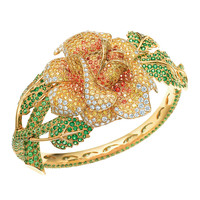 Tiffany & Co. - Rose bracelet in 18k gold with tsavorites, spessartites and yellow diamonds.