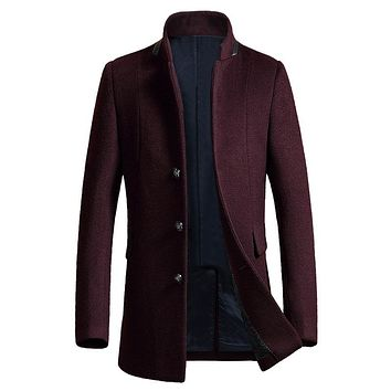 New Long Wool Coat Men Wool & Blends Winter Men Overcoat Fashion Mens Pea Coat Jacket Male Cashmere Manteau Homme
