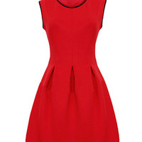 Red Sleeveless A-Line Mini Skater Dress