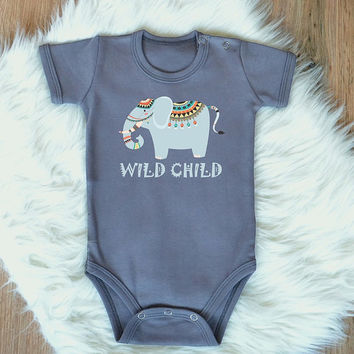 23e42ee5fa1b Wild Child Baby Romper. Cute Tribal Elephant Baby Bodysuit. Tribal Baby  Clothes. Boho