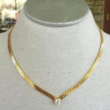 Vtg Solitaire 7mm CZ Gold Tone Chevron Herringbone Chain Choker Necklace