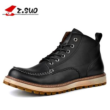 Handmade Black Men's Boots New Fashion Genuine Leather Breathable Tooling Boots Men
