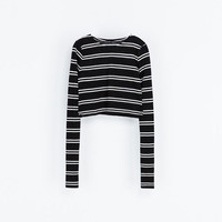 STRIPED CROPPED T - SHIRT - Woman - New this week | ZARA United States