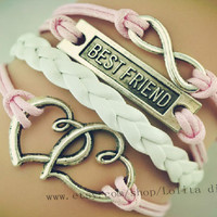 Infinity with best friends, heart to heart charm bracelet, pink wax rope woven leather friendship gift three series of symbols,