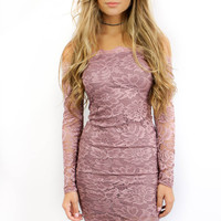 You Really Got Me Mauve Lace Dress