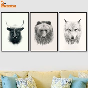 Watercolor Bear Cattle Wolf Leaf Wall Art Canvas Painting Nordic Posters And Prints Animals Wall Pictures For Living Room Decor