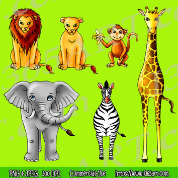 African Safari Animals Clipart For Kids - Jungle Clip Art PNG JPEG Scrapbooking Set Digital Download