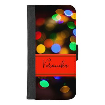 Multicolored Christmas lights. Add name. iPhone 8/7 Plus Wallet Case