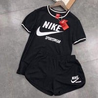 """NIKE"" Print Round Neck Pullover Top Pants Set Two-Piece Sportswear"