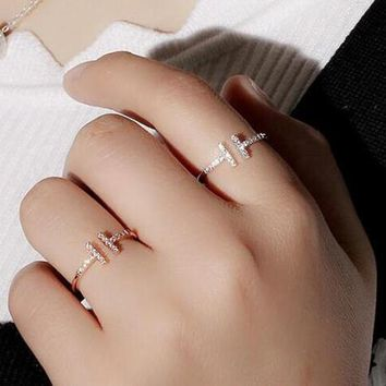 AAA Quality Fashion Micro Mosaic Premium Zircon Crystals Double T Knuckle Free Ring Thin Tail Rings for Women Gift