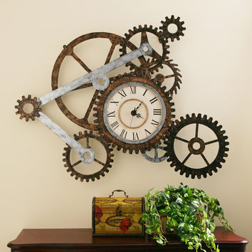Harper Blvd Clock and Gears Wall Art | Overstock.com Shopping - The Best Deals on Accent Pieces