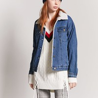 Faux Shearling-Lined Denim Jacket