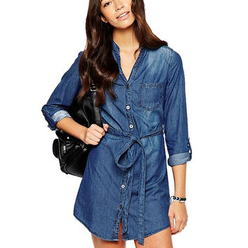 Long Sleeve Tie-waist Mini Shift Denim Dress