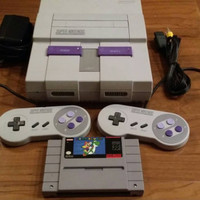 Super Nintendo game system console snes w 2 controllers, hook ups + super Mario world game - Tested & cleaned - FREE SHIPPING